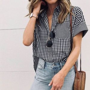 Madewell Tops - Madewell Gingham-Play Button Down Shirt